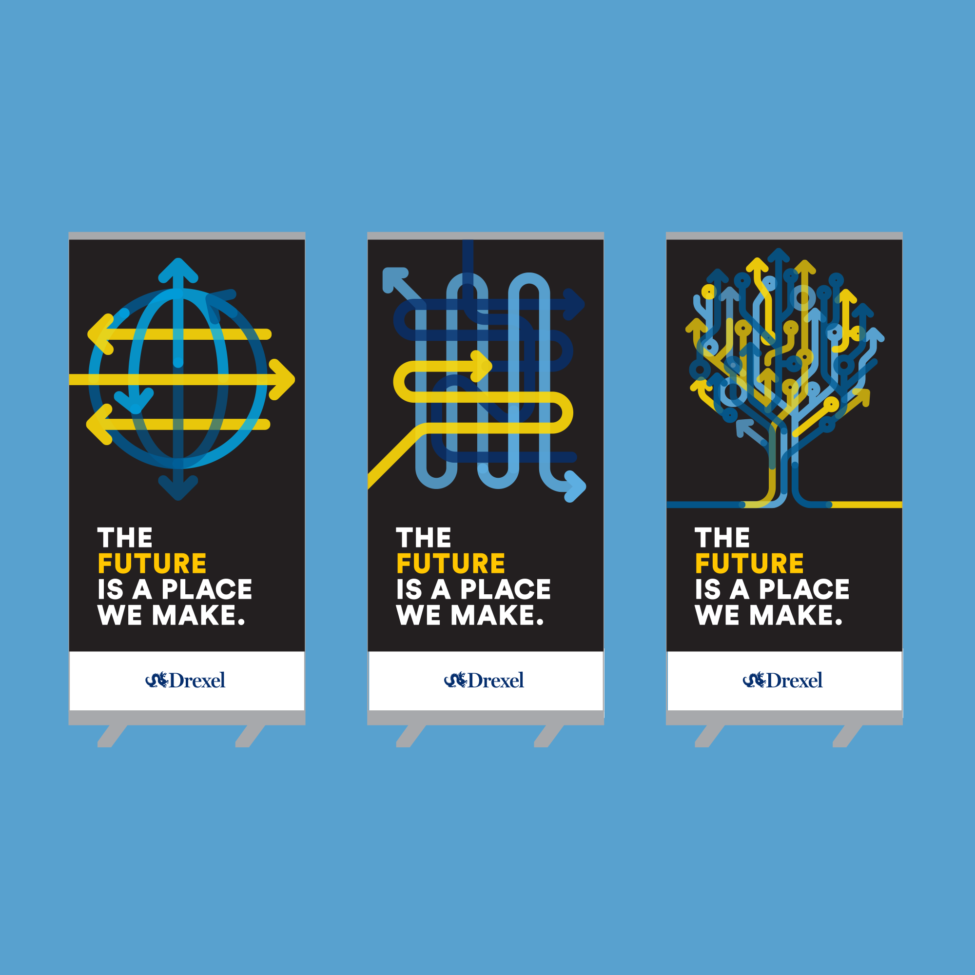 New brand campaign for Drexel University, pop up banners